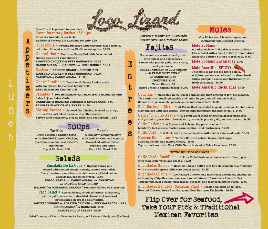 Loco Lizard Cantina Lunch Menu Front