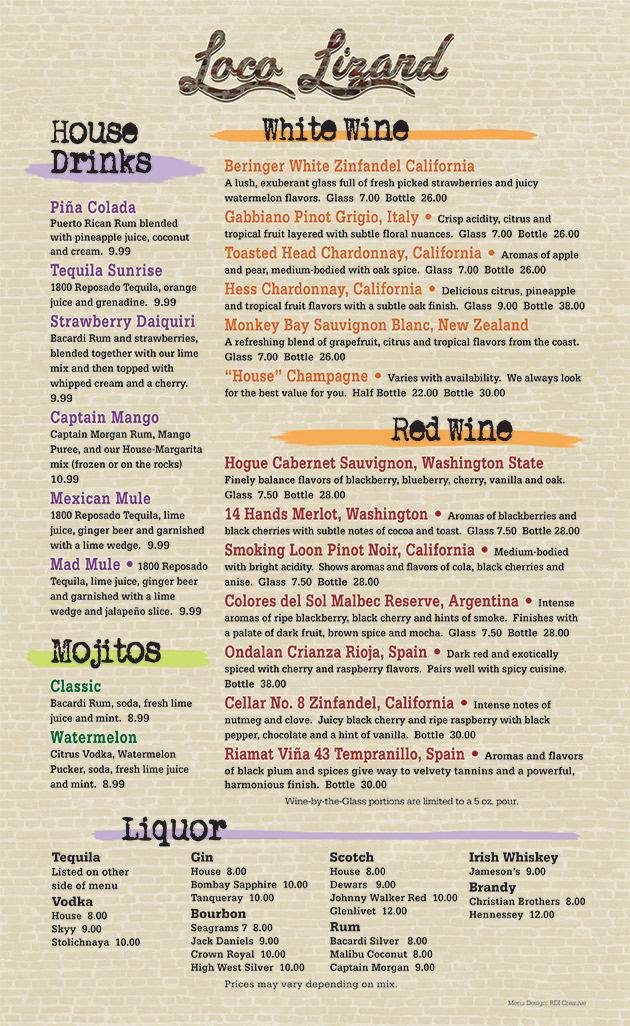 Loco Lizard Cantina Beverage Menu Back